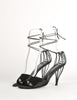 Chanel Vintage Black Satin Strappy Cage Heels - Amarcord Vintage Fashion  - 3