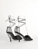 Chanel Vintage Black Satin Strappy Cage Heels - Amarcord Vintage Fashion  - 5