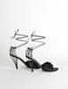 Chanel Vintage Black Satin Strappy Cage Heels - Amarcord Vintage Fashion  - 7