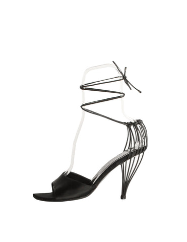 Chanel Vintage Black Satin Strappy Cage Heels