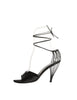 Chanel Vintage Black Satin Strappy Cage Heels - Amarcord Vintage Fashion  - 1