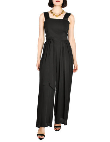 Chanel Vintage Black Silk Chiffon Tie Top & Palazzo Pant Ensemble