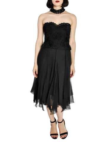 Chanel Vintage Black Silk Chiffon Layered Skirt