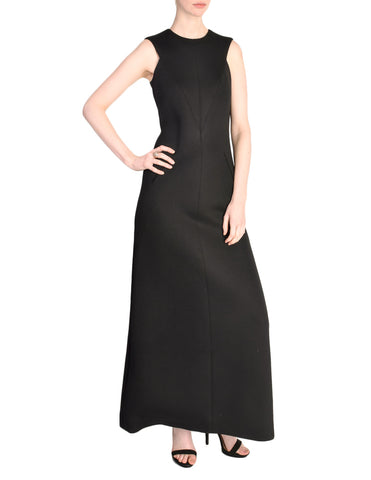 Chanel Vintage Black Sleeveless Wool Jersey Maxi Dress