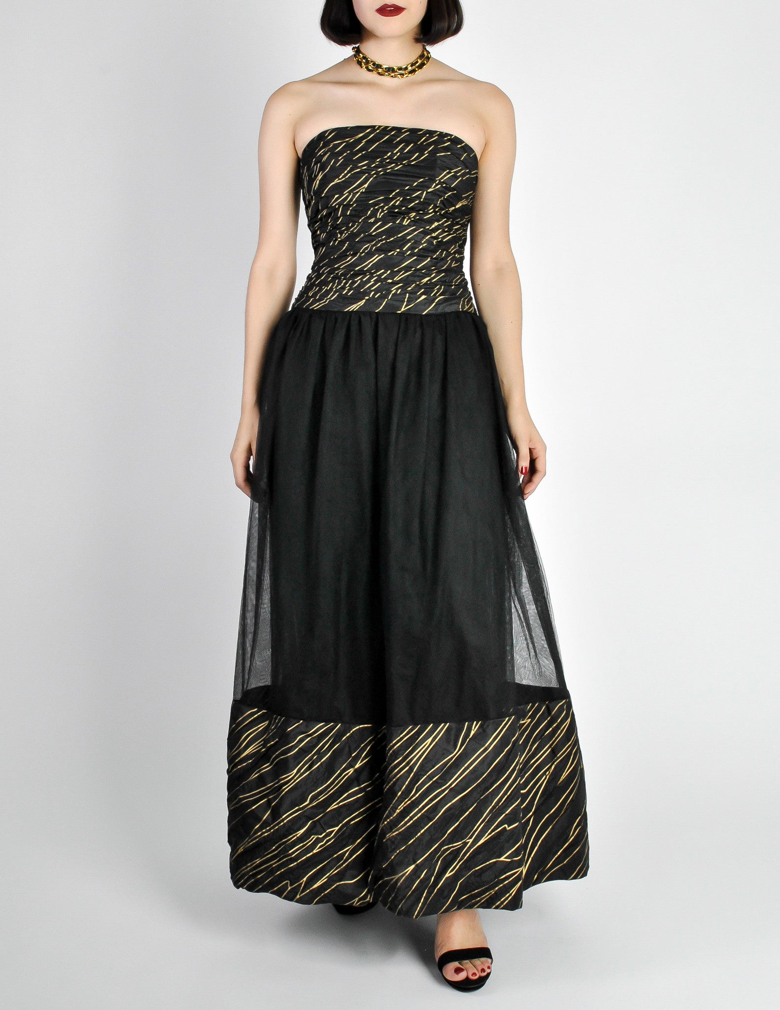 Chanel Vintage Black & Gold Silk & Tulle Evening Gown - from ...
