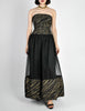 Chanel Vintage Black & Gold Silk & Tulle Evening Gown - Amarcord Vintage Fashion  - 2