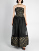 Chanel Vintage Black & Gold Silk & Tulle Evening Gown - Amarcord Vintage Fashion  - 3