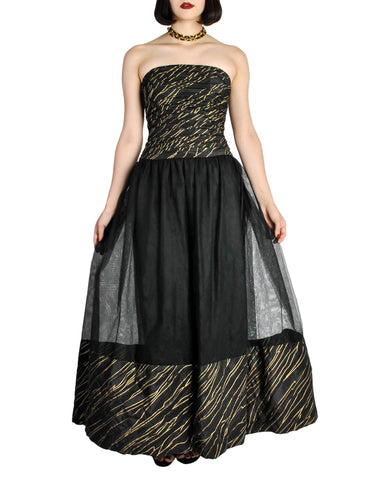 Chanel Vintage Black & Gold Silk & Tulle Evening Gown