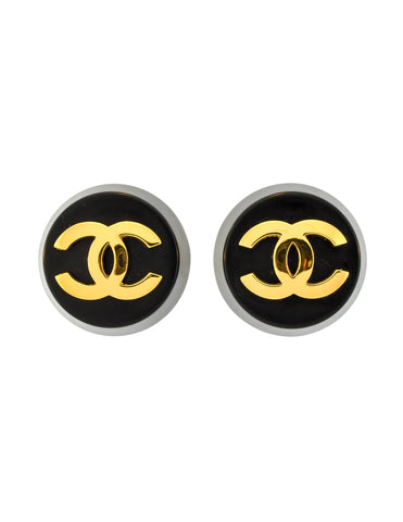 Chanel Vintage Black and Gold CC Logo Earrings