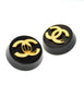 Chanel Vintage Black and Gold CC Logo Earrings - Amarcord Vintage Fashion  - 4