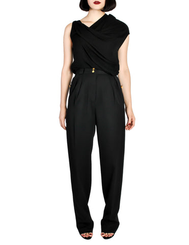 Chanel Vintage Black Wool High Waist Trouser Pants