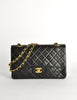 Chanel Vintage Black Quilted Lambskin Leather Classic Double Flap Bag - Amarcord Vintage Fashion  - 2