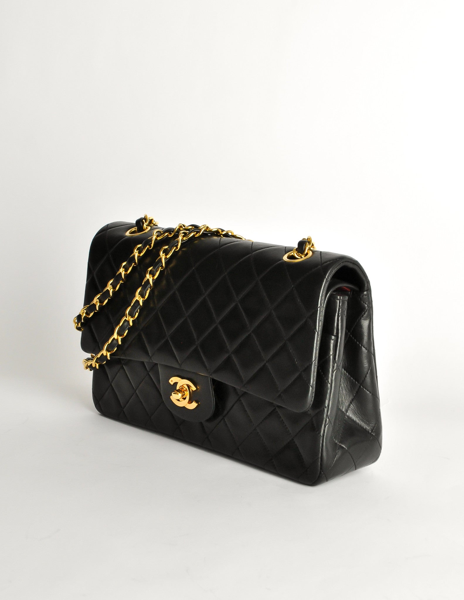 1657e6e3c18e Chanel Vintage Black Quilted Lambskin Leather Classic Double Flap Bag -  Amarcord Vintage Fashion - 3