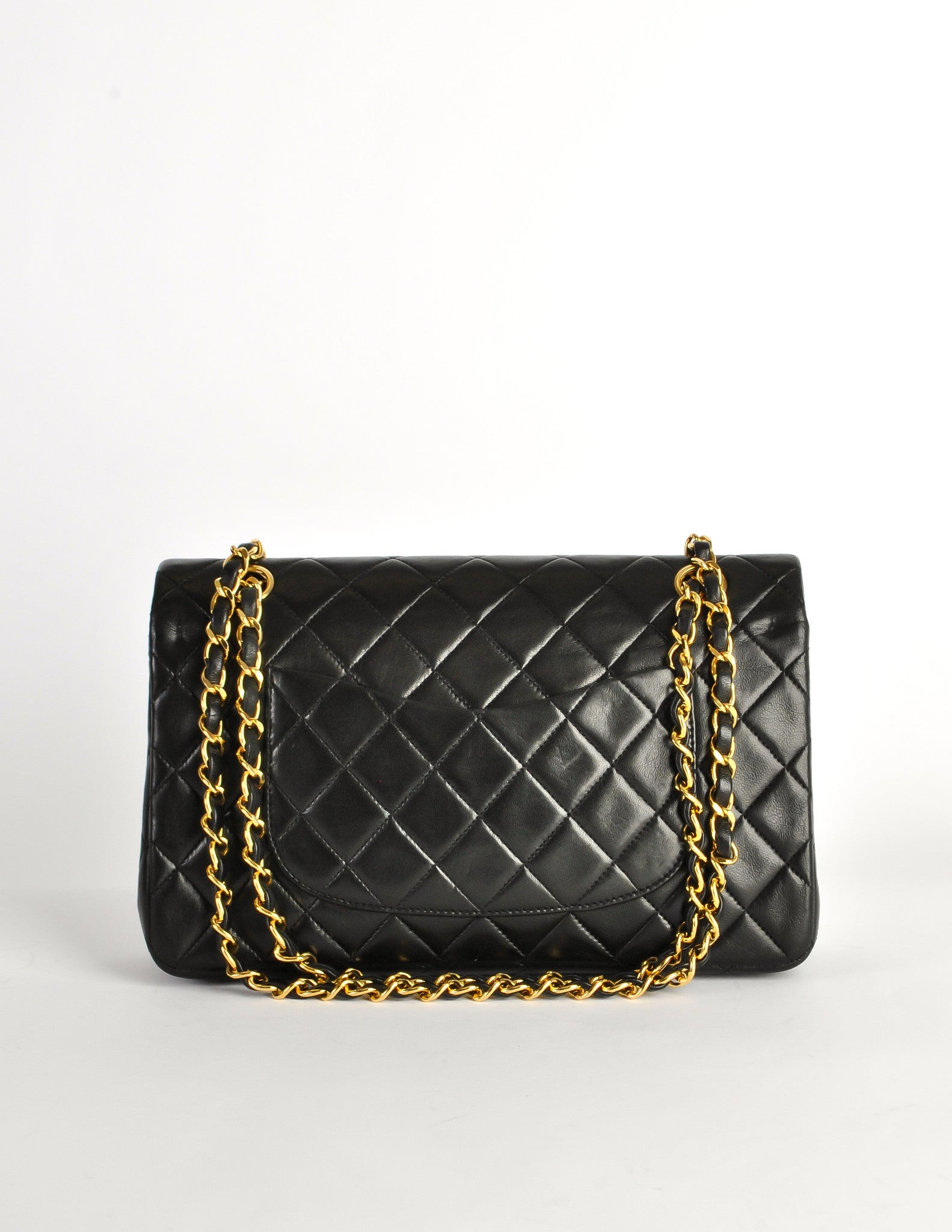 e38650a36ab8 Chanel Vintage Black Quilted Lambskin Leather Classic Double Flap Bag -  Amarcord Vintage Fashion - 4