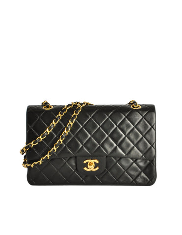 Chanel Vintage Black Quilted Lambskin Leather Classic Double Flap Bag