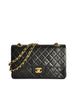 Chanel Vintage Black Quilted Lambskin Leather Classic Double Flap Bag - Amarcord Vintage Fashion  - 1