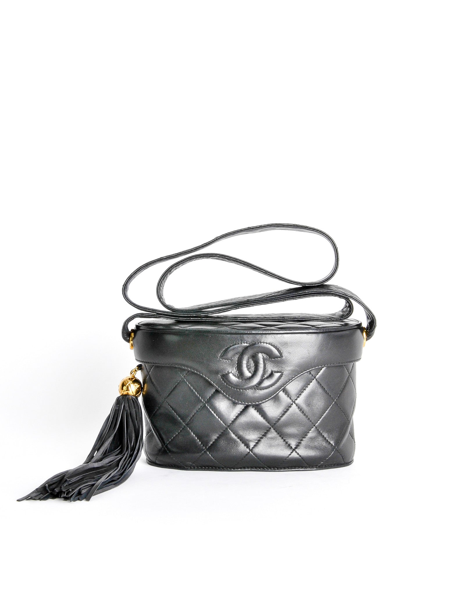 Chanel Vintage Black Quilted Lambskin Tassel Bag - Amarcord Vintage Fashion  - 1