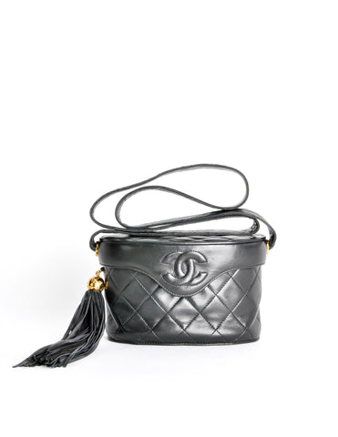 Chanel Vintage Black Quilted Lambskin Tassel Bag