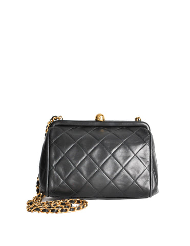 Chanel Vintage Black Quilted Crossbody Bag