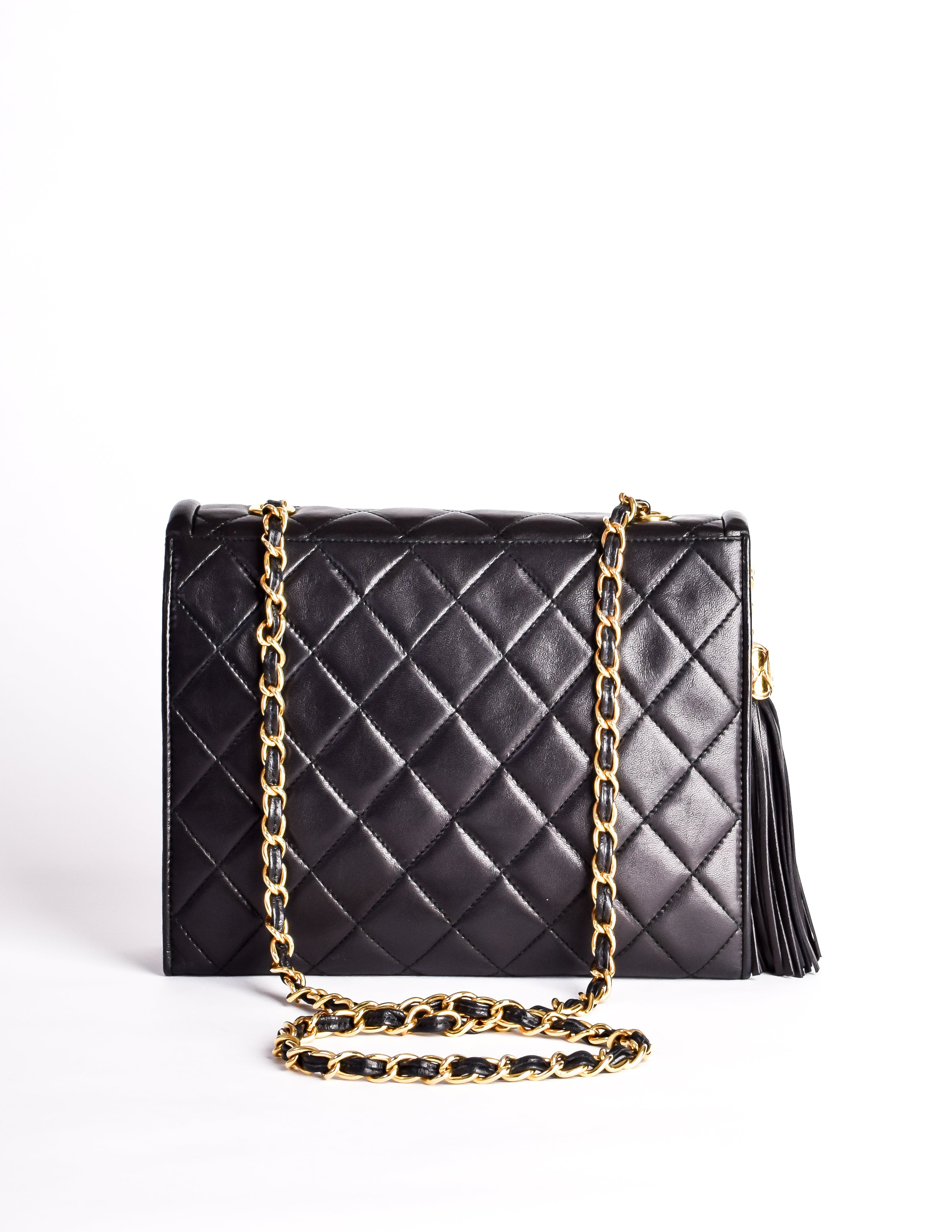ad7801dfc3af Chanel Vintage Black Quilted Lambskin Crossover Double Flap Tassel ...
