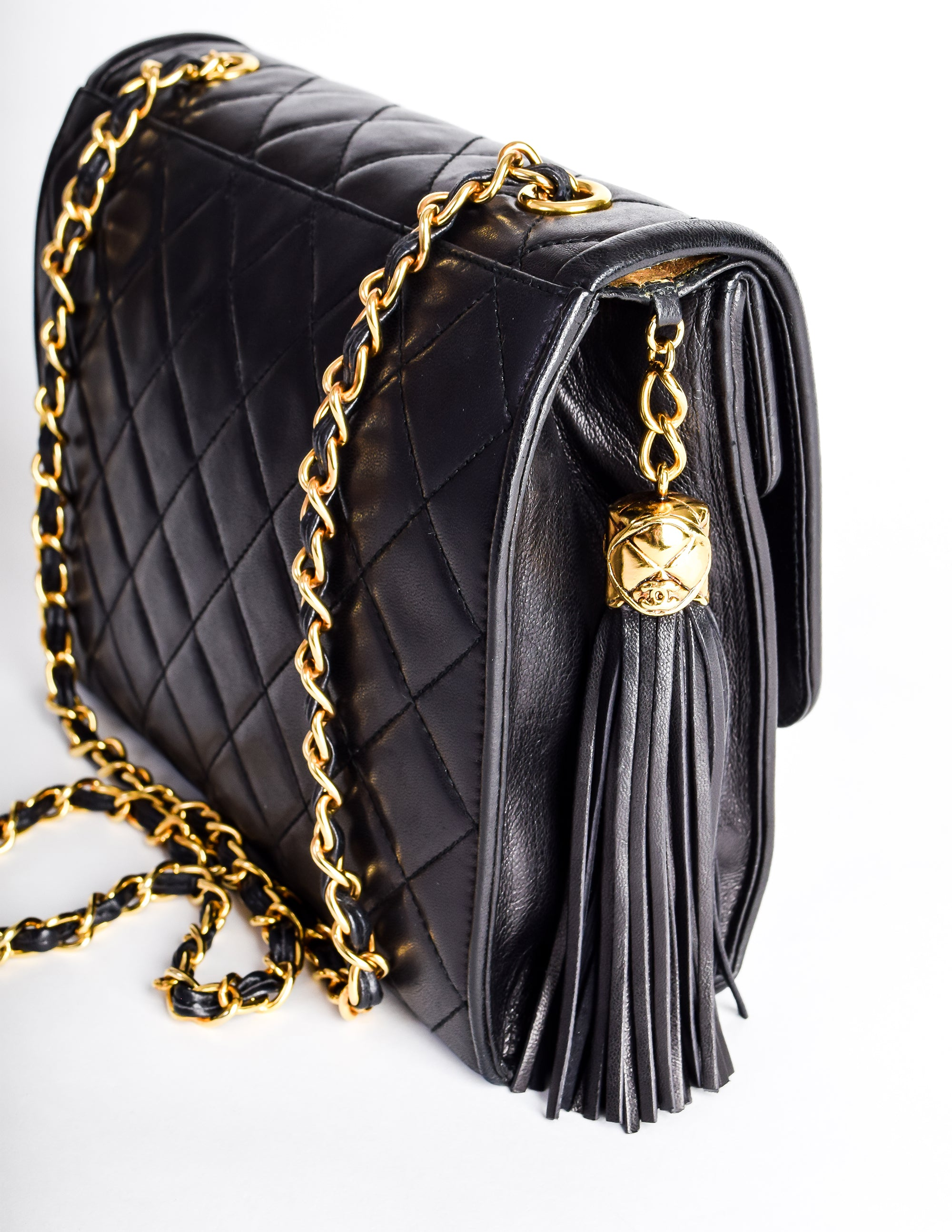 a0e7d4d8914 Chanel Vintage Black Quilted Lambskin Crossover Double Flap Tassel Bag