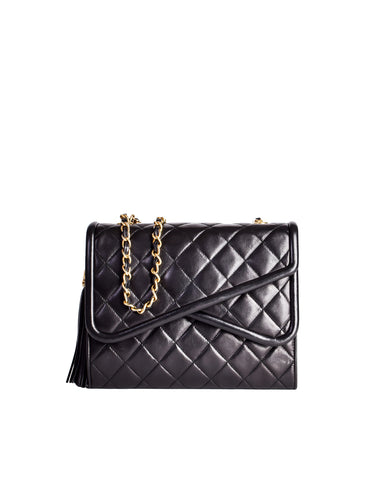 Chanel Vintage Black Quilted Lambskin Crossover Double Flap Tassel Bag