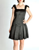 Chanel Vintage Black Satin Bow Pleated Dress - Amarcord Vintage Fashion  - 4