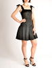 Chanel Vintage Black Satin Bow Pleated Dress - Amarcord Vintage Fashion  - 5