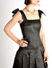 Chanel Vintage Black Satin Bow Pleated Dress - Amarcord Vintage Fashion  - 6