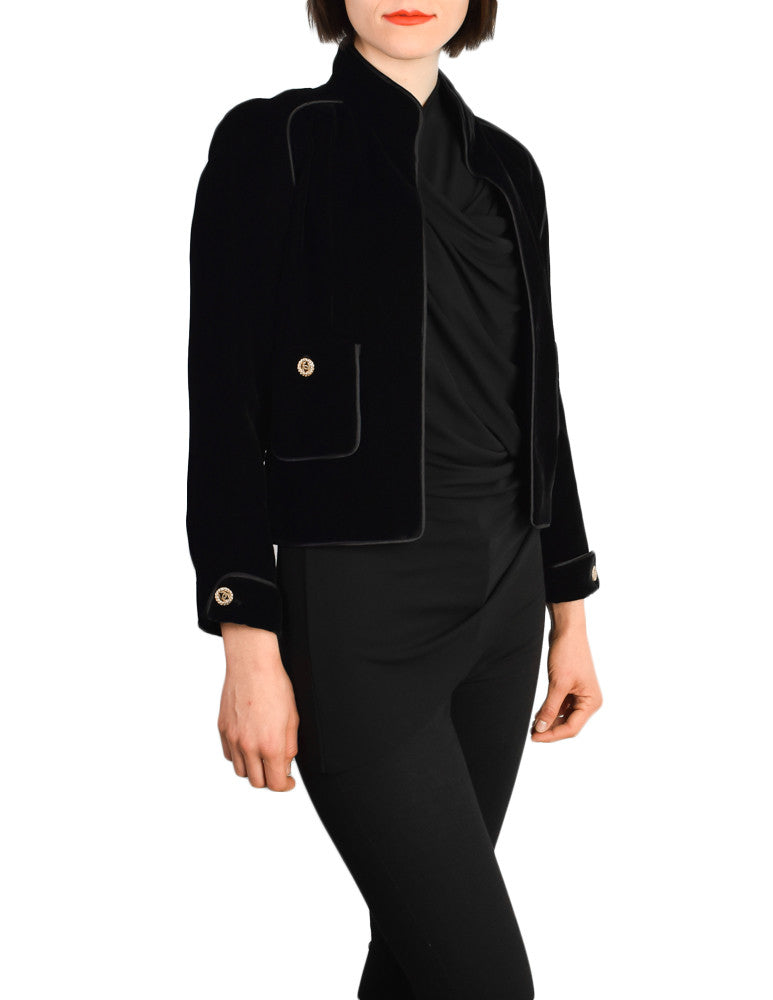 Chanel Vintage Cropped Black Velvet Jacket - Amarcord Vintage Fashion  - 1