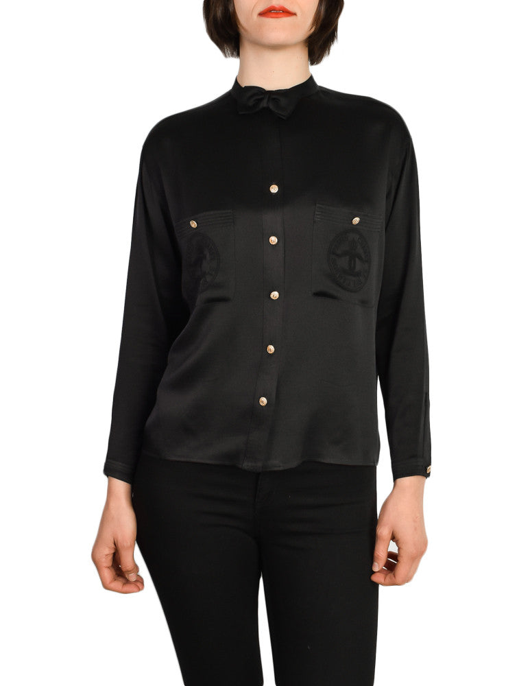Chanel Vintage CC Logo Monogram Silk Bow Tie Button Down Blouse Top - Amarcord Vintage Fashion  - 1