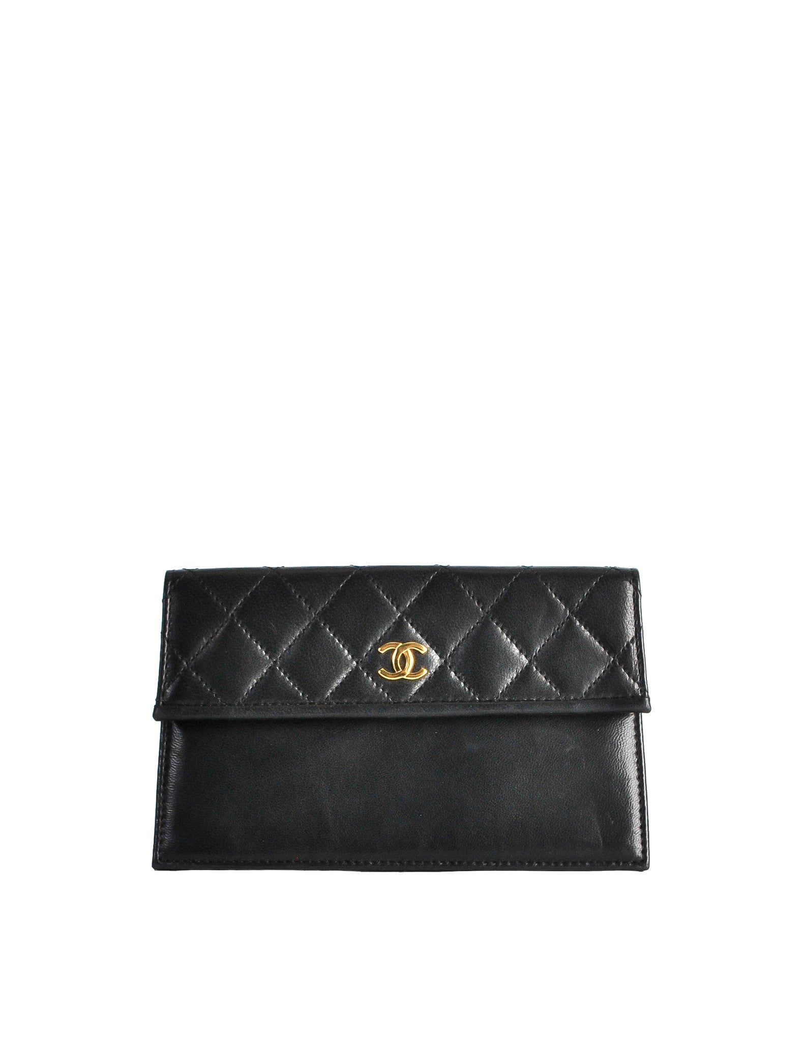 Chanel Vintage Black Quilted Lambskin Pouch - Amarcord Vintage Fashion  - 1