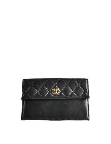 Chanel Vintage Black Quilted Lambskin Pouch