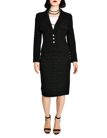Chanel Vintage Black Wool Sparkly Two-Piece Suit