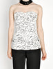 Chanel Vintage Black & White Graphic Silk Bustier Top - Amarcord Vintage Fashion  - 6