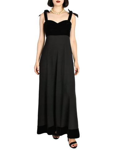 Chanel Vintage Black Velvet & Wool Maxi Evening Dress
