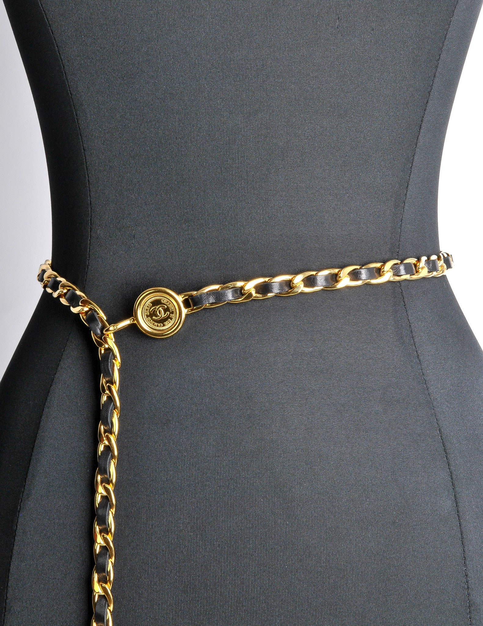 Chanel Vintage Black Gold Leather Chain Belt From