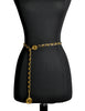 Chanel Vintage Black/Gold Leather Chain Belt - Amarcord Vintage Fashion  - 1
