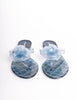 Chanel Vintage Light Blue Camellia Flower Flip Flop Sandals