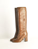 Chanel Vintage Brown Leather Heeled Boots - Amarcord Vintage Fashion  - 2