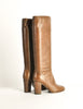Chanel Vintage Brown Leather Heeled Boots - Amarcord Vintage Fashion  - 6