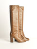 Chanel Vintage Brown Leather Heeled Boots - Amarcord Vintage Fashion  - 4
