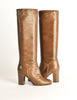 Chanel Vintage Brown Leather Heeled Boots - Amarcord Vintage Fashion  - 3