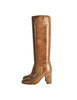 Chanel Vintage Brown Leather Heeled Boots - Amarcord Vintage Fashion  - 1