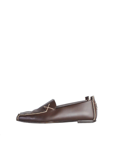 Chanel Vintage CC Logo Brown Leather Loafers