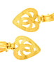 Chanel Vintage Brushed Gold CC Logo Heart Earrings - Amarcord Vintage Fashion  - 3