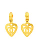 Chanel Vintage Brushed Gold CC Logo Heart Earrings - Amarcord Vintage Fashion  - 4
