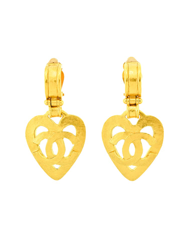 Chanel Vintage Brushed Gold CC Logo Heart Earrings