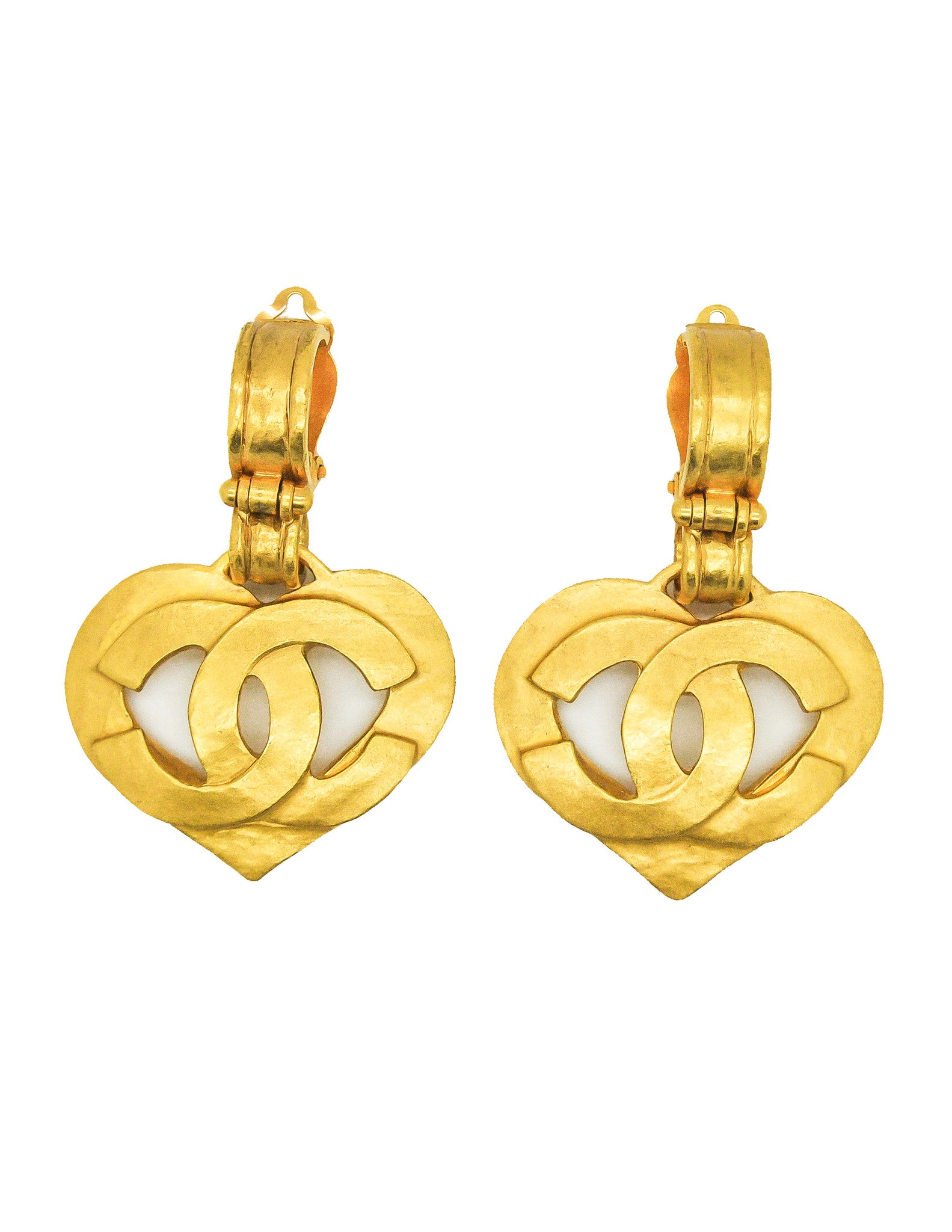 Chanel Vintage CC Logo Heart Earrings - Amarcord Vintage Fashion  - 1
