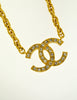 Chanel Vintage Gold Rhinestone CC Logo Necklace - Amarcord Vintage Fashion  - 4
